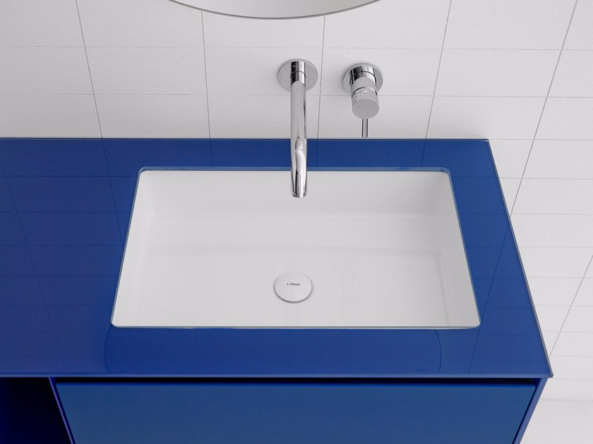 Undermount rectangular Ceramilux® washbasin GLAZE | Washbasin - INBANI