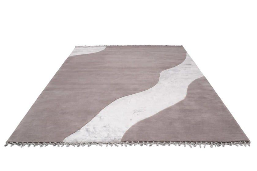 Handmade rectangular wool rug WATER by Bodema