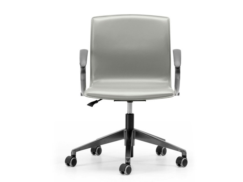 Tanned leather task chair with 5-Spoke base with armrests with casters WEBTOP 383 - TALIN