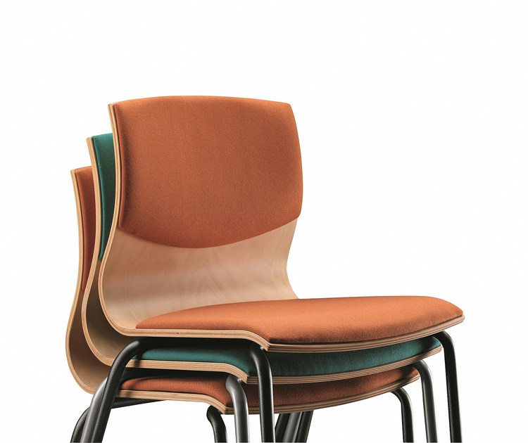 Stackable fabric chair WEBWOOD 353S by TALIN