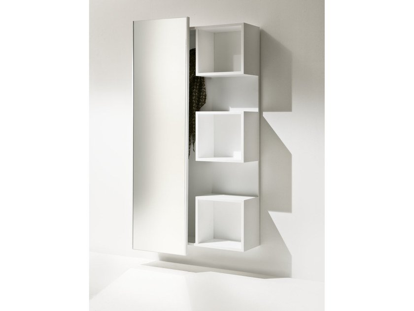 Wall-mounted wood fibre hallway unit WELCOME | Lacquered hallway unit - Pacini & Cappellini
