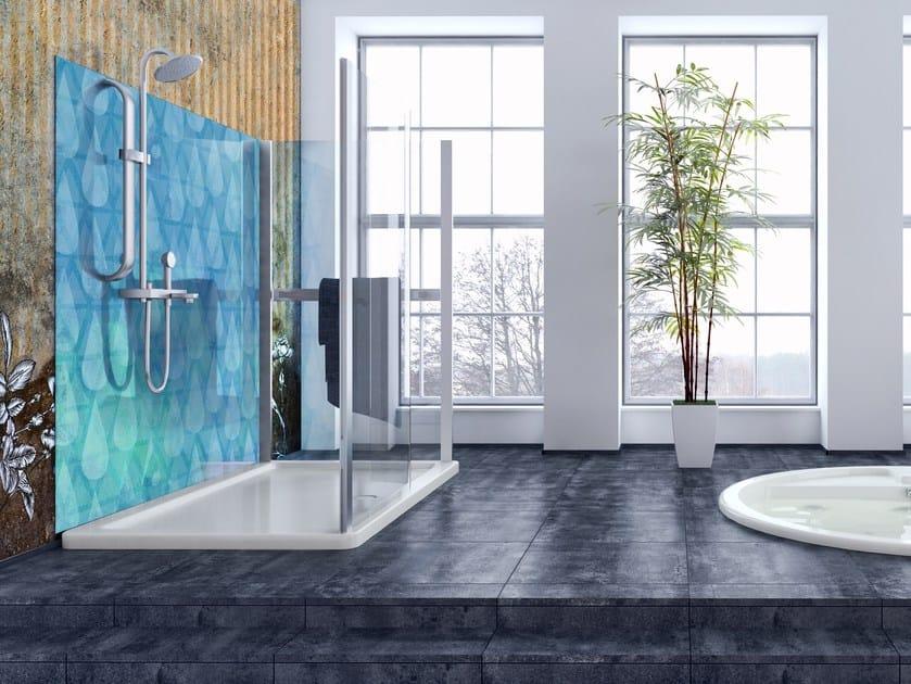 Glass-fibre bathroom wallpaper WET DROP by Wall LCA