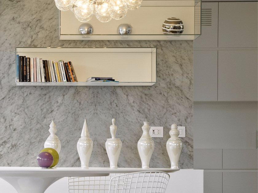 Panoramic wallpaper with marble effect WHITE MARBLE - Inkiostro Bianco