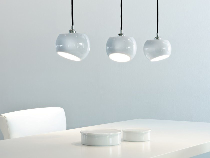 LED porcelain pendant lamp WHITE MOONS 3 | Pendant lamp by LICHT IM RAUM