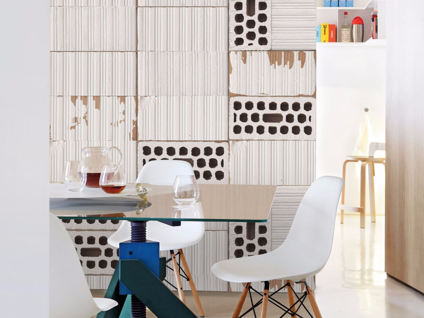 Brick effect panoramic wallpaper WHITE RAW by Inkiostro Bianco