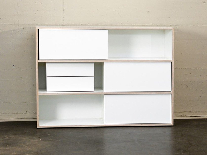 Sideboard with sliding doors WHITE STORE | Office storage unit - MORGEN Interiors