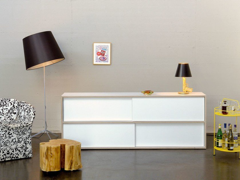 Sideboard with sliding doors WHITE STORE | Sideboard with sliding doors - MORGEN Interiors