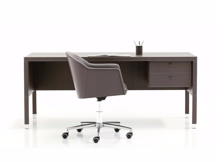 Rectangular tanned leather executive desk with drawers WIEN by Polflex