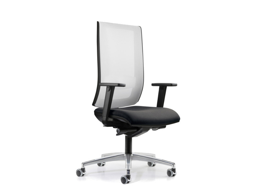 Mesh task chair with 5-Spoke base with armrests with casters WIND 107 - TALIN
