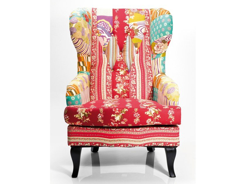 Upholstered fabric armchair with armrests WING CHAIR PATCHWORK RED - KARE-DESIGN
