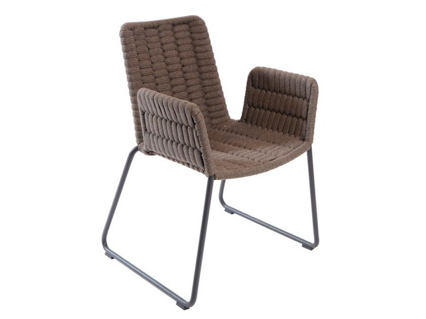 Sled base garden chair with armrests WING | Chair with armrests by FISCHER MÖBEL