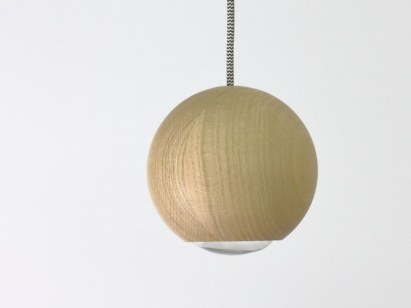 Wood and glass pendant lamp ANNETTE & LUBIN | Wood and glass pendant lamp by Hind Rabii