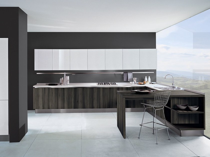 Lacquered wooden fitted kitchen TOUCH | Wooden kitchen - Oikos Cucine