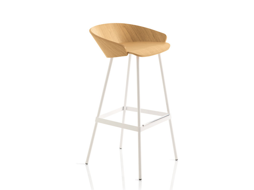 High wooden stool with footrest KARL | Wooden stool by Emmegi