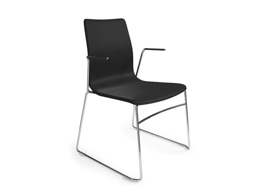 Sled base beech training chair with armrests WOODY FILO by Ares Line