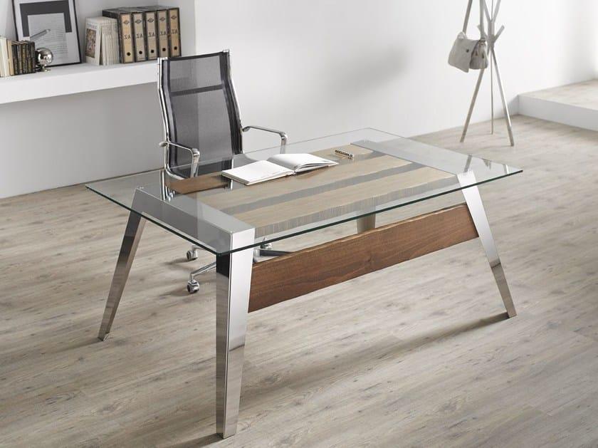 Contemporary style rectangular stainless steel writing desk NORDIC | Writing desk - Altinox Minimal Design