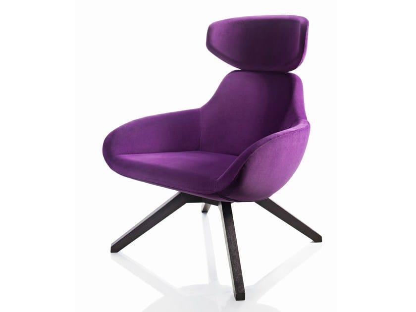 Upholstered ash armchair with headrest X 2BIG | Armchair - ALMA DESIGN