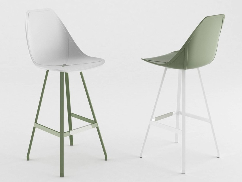 Metal counter stool with footrest X STOOL | Counter stool - ALMA DESIGN