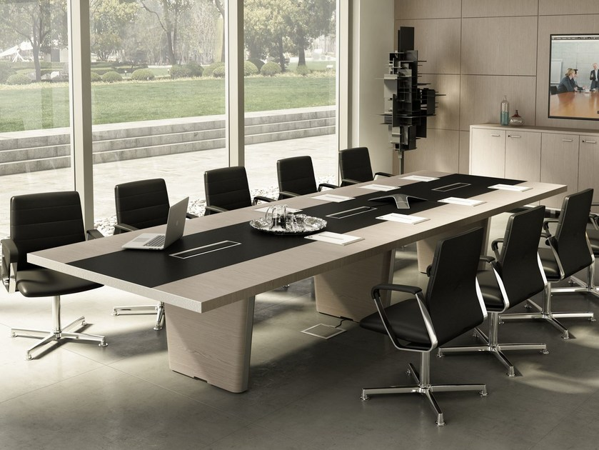 Rectangular meeting table with cable management X10 | Rectangular meeting table by Quadrifoglio