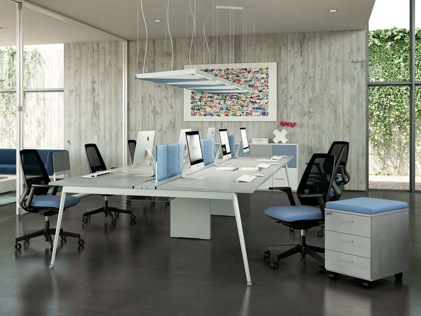 Multiple office workstation for open space X3 | Multiple office workstation by Quadrifoglio