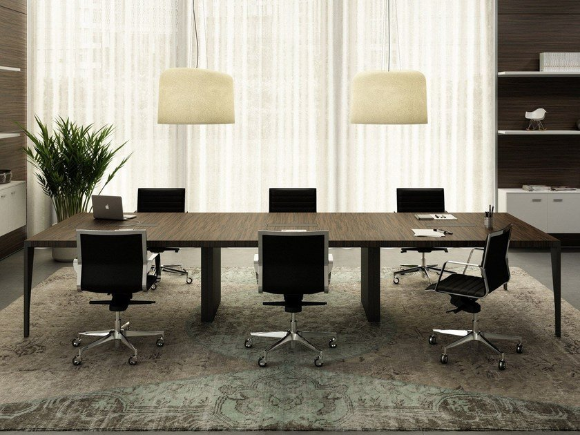 Rectangular meeting table with cable management X9 | Rectangular meeting table by Quadrifoglio