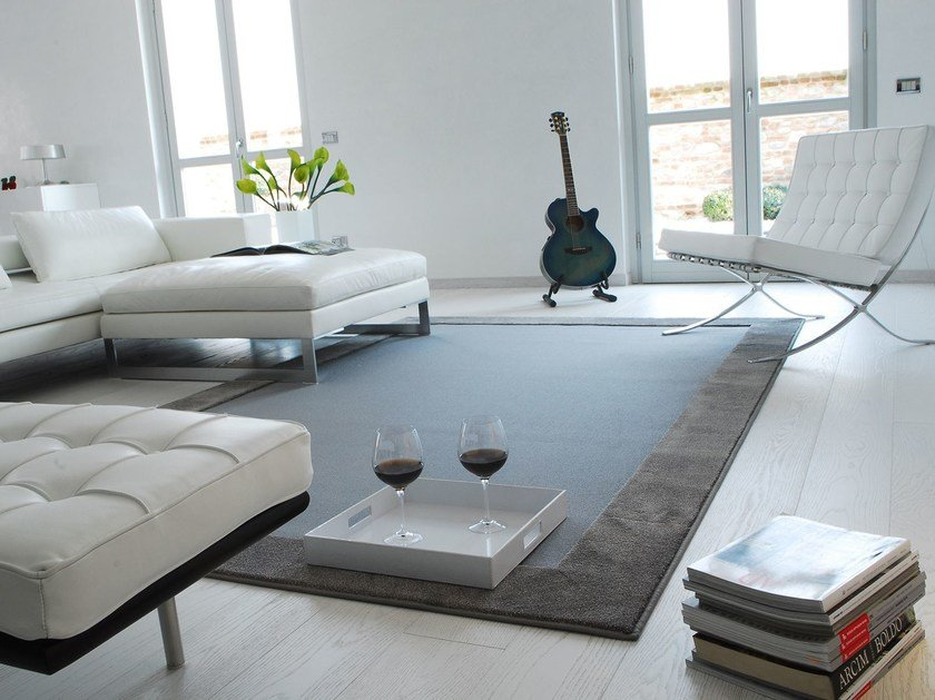 Solid-color rectangular fabric rug YOUNG - Besana Moquette