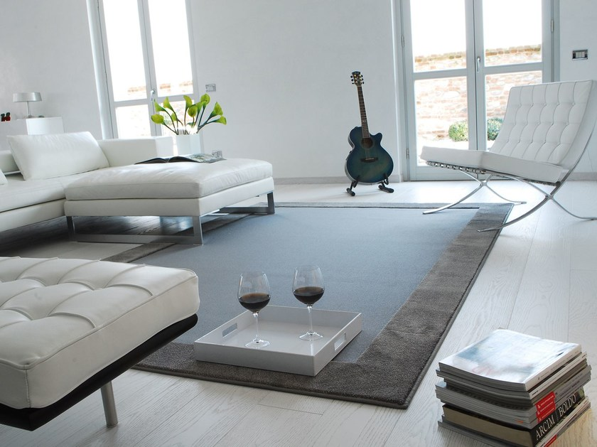 Solid-color rectangular fabric rug YOUNG by Besana Moquette