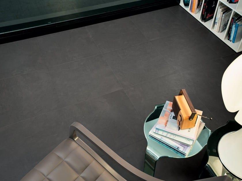 Wall/floor tiles with concrete effect ZEN GRAPHITE - NOVOCERAM
