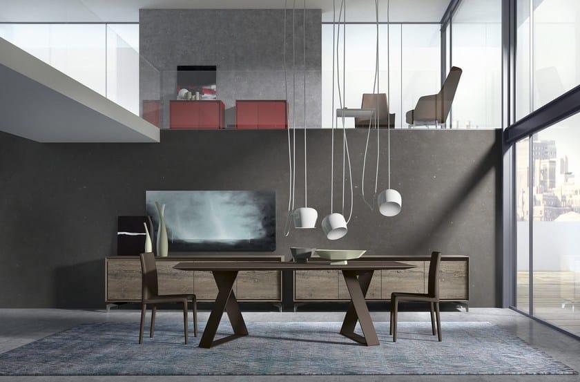 Tavolo rettangolare in vetro zaffiro presotto for Presotto mobili prezzi
