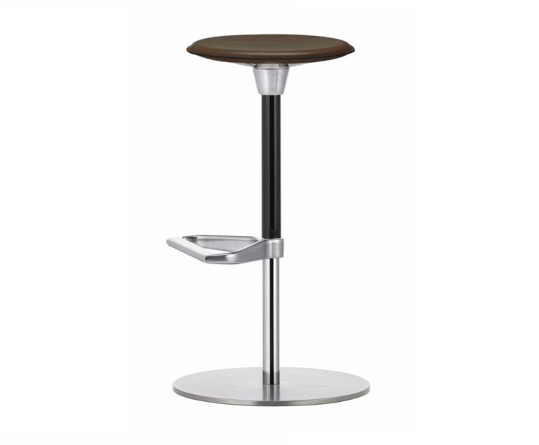 Swivel height-adjustable leather stool ZEB STOOL LEATHER - Vitra