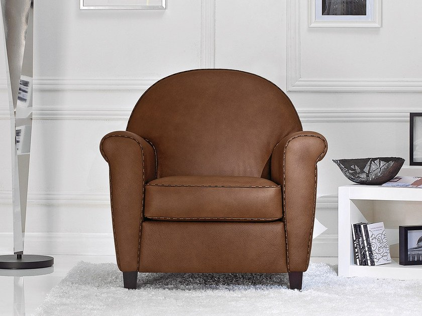 Leather armchair with armrests ZENITH by Borzalino