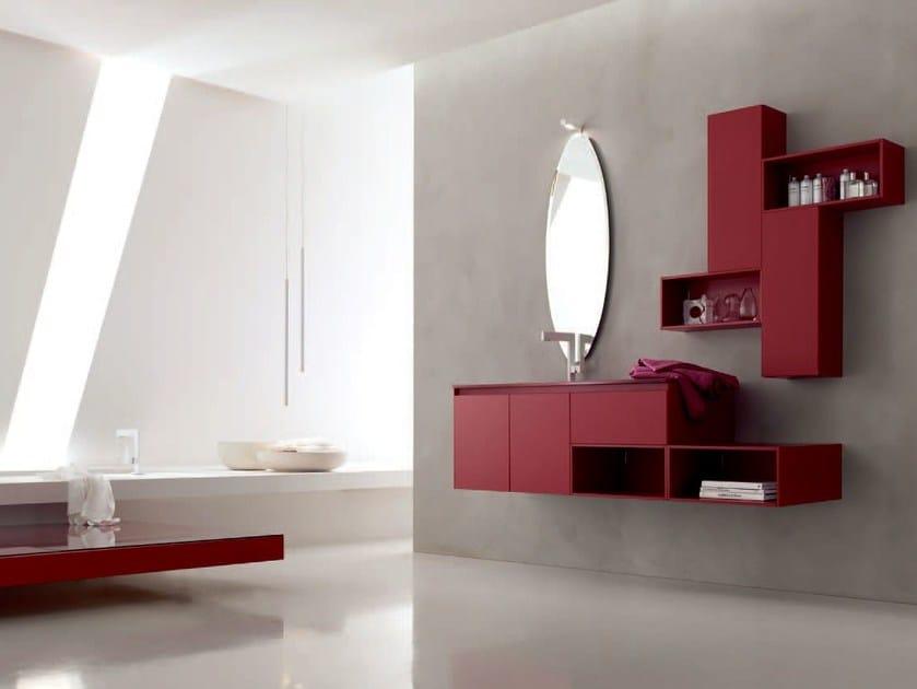 Sandblasted glass bathroom cabinet / vanity unit ZERO4 GLASS - COMPOSITION 1 - Arcom