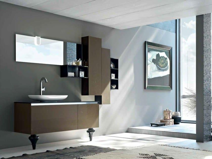 Mobile bagno / mobile lavabo in marmo tecnico ZERO4 MARMO - COMPOSIZIONE 14 by Arcom