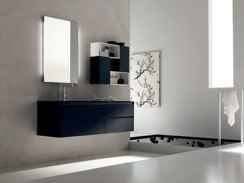 Sandblasted glass bathroom cabinet / vanity unit ZERO4 GLASS - COMPOSITION 5 by Arcom