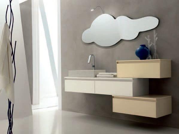 Single sandblasted glass vanity unit ZERO4 GLASS - COMPOSITION 6 - Arcom