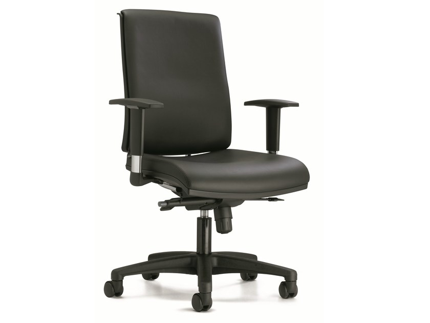 Swivel leather task chair with casters ZERO7 | Leather task chair - Ares Line