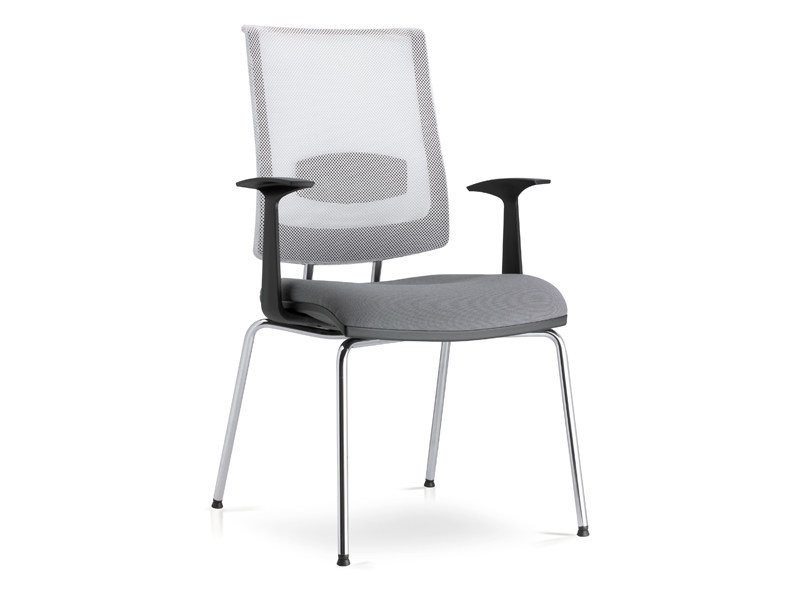 Mesh waiting room chair with armrests ZERO7 | Mesh waiting room chair - Ares Line
