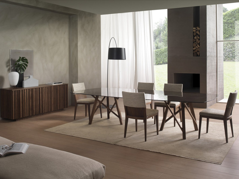 Rectangular wood and glass table ZEUS | Rectangular table - Pacini & Cappellini