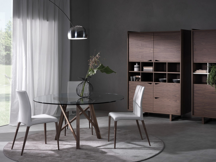 Round wood and glass table ZEUS | Round table - Pacini & Cappellini