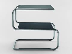Tavolino quadrato in acciaio inox e legno con portariviste per contract310 | Tavolino - ADICO