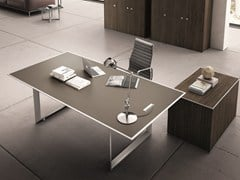 - Rectangular glass and steel executive desk 45/90 | Rectangular office desk - IFT