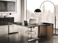 - L-shaped glass and steel office desk 45/90 | L-shaped office desk - IFT