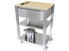Modulo cucina freestanding in acciaio inox e legno con cassetti662701 | Modulo cucina freestanding - JOKODOMUS