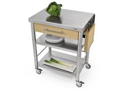 Modulo cucina freestanding in acciaio inox e legno691701 | Modulo cucina freestanding - JOKODOMUS