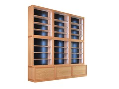 - Sectional wood and glass bookcase with built-in lights MODULO '900 | Bookcase with built-in lights - Morelato
