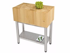 Ceppo batticarne in acciaio inox e legno91530291 | Modulo cucina freestanding - JOKODOMUS