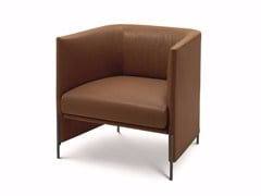 - Upholstered leather armchair with armrests ALGON | Leather armchair - arflex