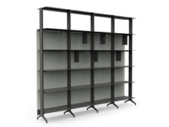 - Open sectional floor-ceiling mounted aluminium bookcase ALINE - J08 - Alias