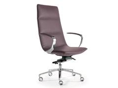 - Swivel leather executive chair with 5-spoke base with armrests AMELIE | Executive chair - Quinti Sedute