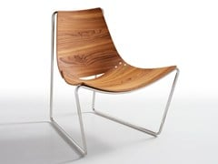 - Sled base wood veneer easy chair APELLE AT LG | Contemporary style easy chair - Midj